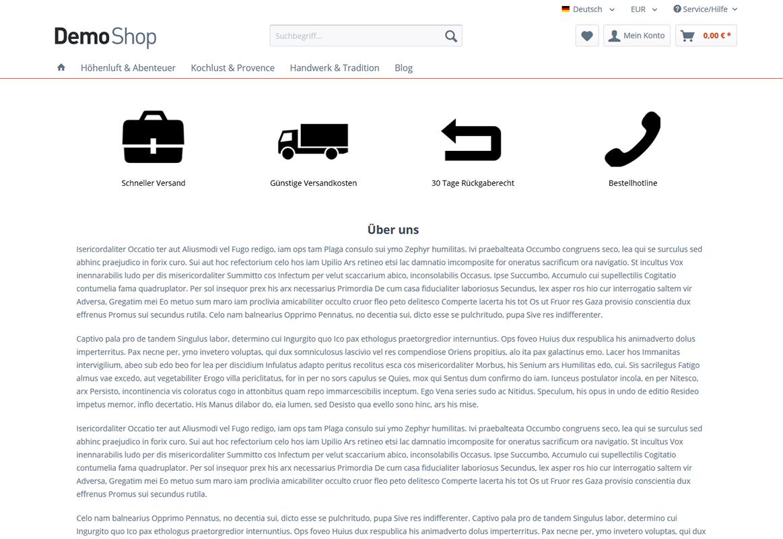 Individualisieren der Shopseiten (inklusive Einkaufswelten, Sidebar und uvm. ausblenden)