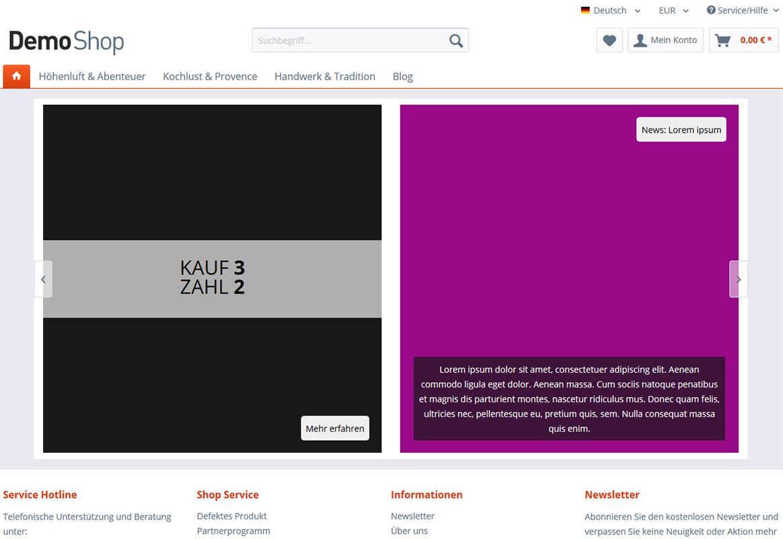 Emotion Banner Slider mit nebeneinander platzierten Bannern (Banner mit frei definierbaren Texten uvm.)