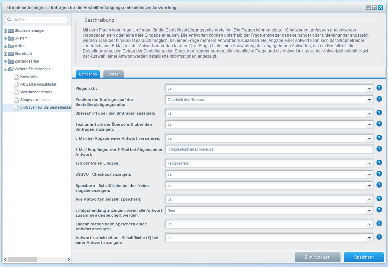 Umfragen für die Bestellbestätigungsseite inklusive Auswertung