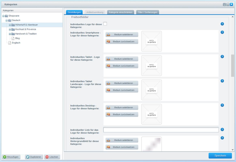 Individualisieren des Shopware Frontends (Logo, Hintergrund, Farbe, Sidebar, SEO Texte je Kategorie, uvm.)