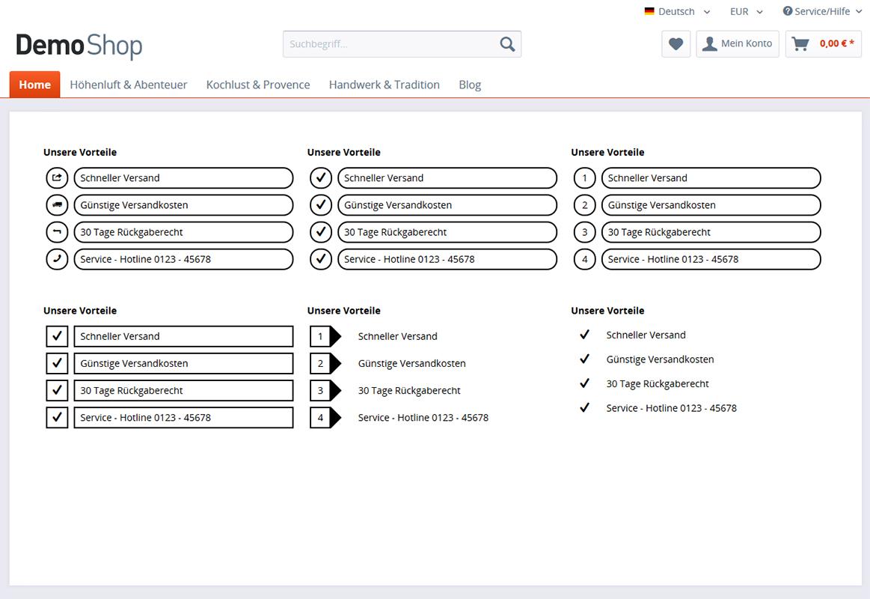 Grafische Aufzählungen für die Einkaufswelten (Rahmen, runde Ecken, uvm.)