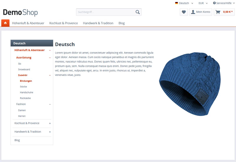Kategorie - Navigation für die Einkaufswelten